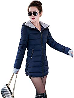 Leomodo Women Winter Duck Down Long Coat Hoodie Thicken Coat Long Sleeve Cotton Outerwear