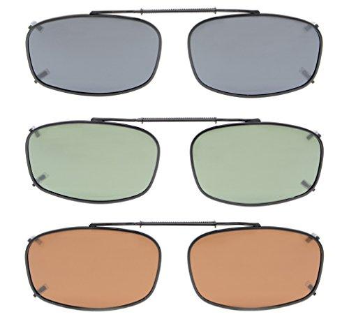 Eyekepper Grau/Braun / G15 Objektiv 3-pack Clip-on Polarisierte Sonnenbrillen 52x32MM