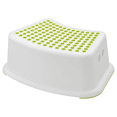 Taburete infantil IKEA FÖRSIKTIG, color blanco/verde