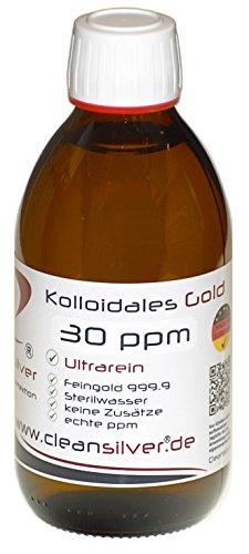 Kolloidales GOLD 30ppm, 250ml (Hochrein: Au9999, immer frisch hergestellt, pharm. Sterilwasser, Braunglas-Euromedizinflasche mit Originalitätsverschluss)