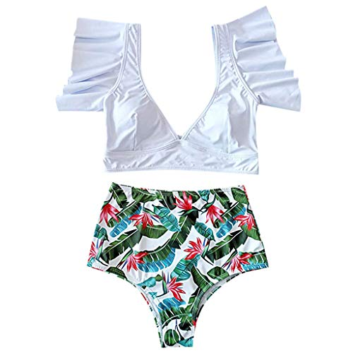 QingJiu 2020 Damen Bikini Damen Rüsche Push Up Top mit Hohe Taille Punktdruck Badehose Bademode Zweiteiliger Badeanzug Beachwear Set