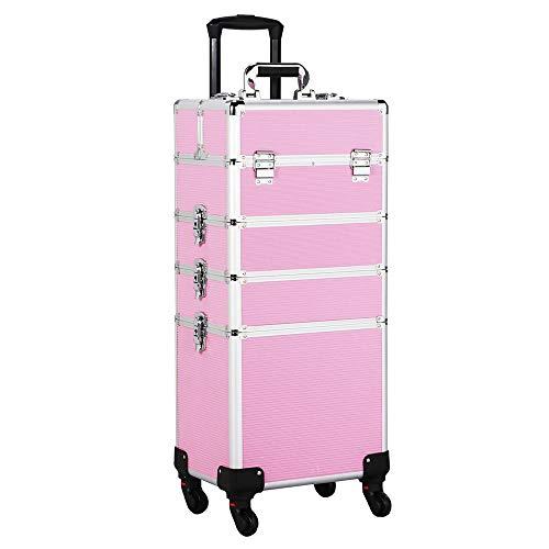 Yaheetech Friseurkoffer Trolley Alu Kosmetikkoffer 4 in 1 Schminkkoffer mit 4 Rollen Make-up Friseur Koffer in Pink
