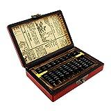 HMEI Ábaco 9 Columnas Vintage Chino Abalorios De Madera Aritmética con Caja Antigua Calculadora Coleccionable con Manual En Inglés calculadora de Oficina