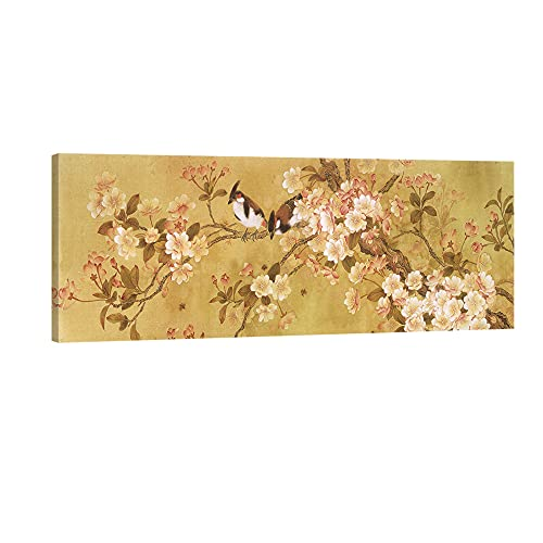 Pyradecor Giclee Canvas Prints Wall art Birds on Blooming Trees Floral Pictures Paintings for Living Room Bedroom Home Decorations Large Modern Stretched and Framed Brown Grace Flowers Artwork L