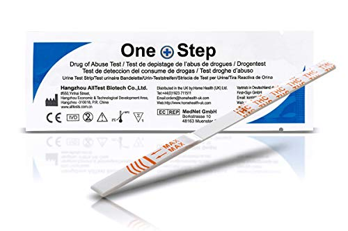 10 x One+Step THC Urintest, Drogentest Cannabis Marijuana Haschisch, Urin Teststreifen für den Schnelltest, hohe Sensitivität Cut-off: 20 ng/ml (10)