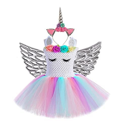 SIEYS Vestido de Unicornio Pastel para nias para nias Halloween, Flor Princesa Tutu Vestidos nios Disfraz de Halloween nio Cosplay Elegante Vestido con alas 1-14Y