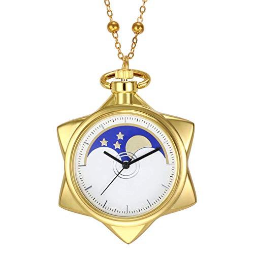 J-Love Estrella de Cinco Puntas Unisex Collar de Bronce de Moda Reloj de Bolsillo Collar de Cuarzo Relojes de Bolsillo