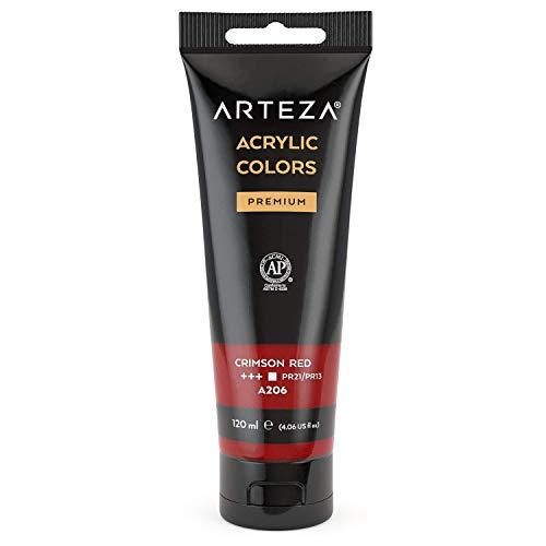 ARTEZA Pintura acrílica | Color Rojo Carmesí | Bolsa individual de 120 mililitros | Pinturas acrílicas para lienzos