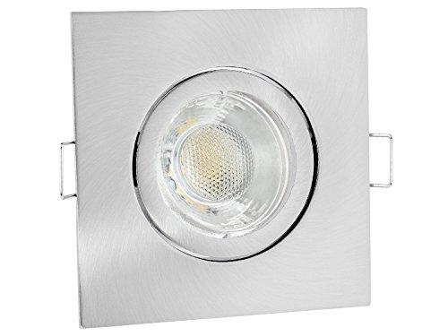 linovum® LED Einbauleuchte Einbaustrahler eckig Edelstahl Optik für 230V mit 6W GU10 Lampe warmweiß 2700K inkl. Fassung ohne Trafo
