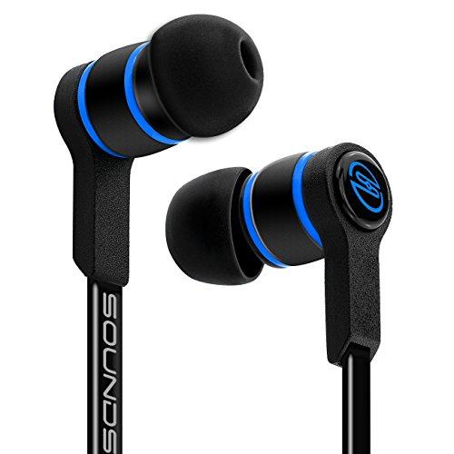 deleyCON SOUNDSTERS S18 In-Ear Kopfhörer - 3,5mm Klinken Stecker 90° abgewinkelt - Hochwertige Soundqualität mit kraftvollem Bass - verschlaufungsfreies TPE Flachkabel - Schwarz