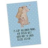 Mr. & Mrs. Panda Grußkarte, Ansichtskarte, Postkarte Papa Bär mit Spruch - Farbe Blau Pastell