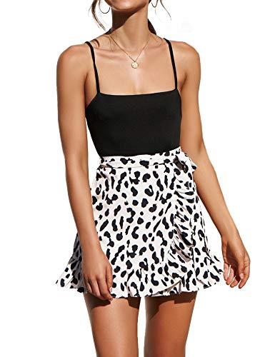 Relipop Women's Stretchy Cotton High Waist Ruffle Wrap Tie Knot Fishtail Mini Skirt (T2, X-Large)
