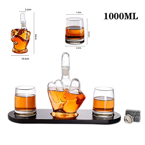 Middle finger Decanter Set Glasses, 1000Ml Middle finger fist Large Whiskey Decanter Set with 2 Glasses and Ice wine stone Wooden Base House -Vodka Rum Wine Glass set for Safe Celebrations Gifts