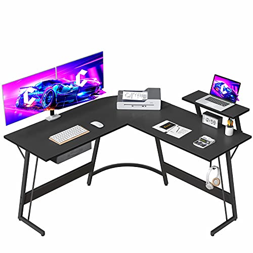 CubiCubi Gaming L-Shaped Desk Computer Corner Desk, 50.8  Home Office Gaming Desk, Office Writing Study Workstation with Large Monitor Stand, Space-Saving, Easy to Assemble