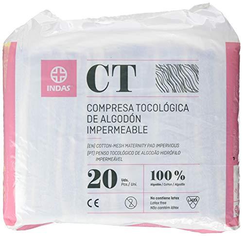 INDAS, Compresa Tocológica Algodón Impermeable, 20 unidades