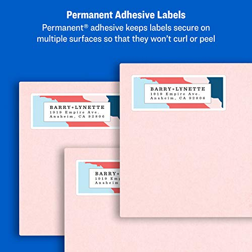 "Avery Address Labels with Sure Feed for Inkjet Printers, 1"" x 2-5/8"", 3,000 Labels, Permanent Adhesive (8460), White Photo #4"