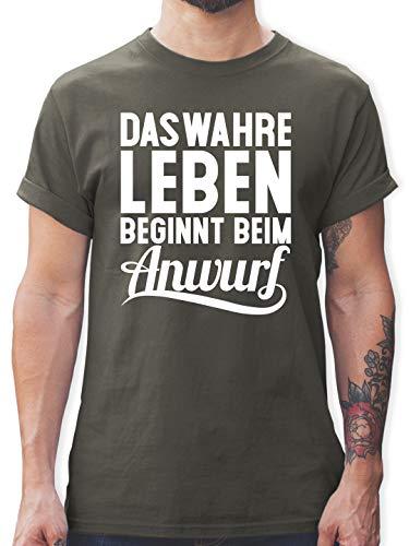 Handball WM 2019 - Das wahre Leben beginnt beim Anwurf - S - Dunkelgrau - T-Shirt - L190 - Tshirt Herren und Männer T-Shirts