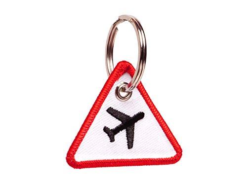 Wingdesign | Schlüsselanhänger | Achtung Flugzeug (Verkehrszeichen Optik) | Flugzeug-Silhouette gestickt | Farbe: Weiß - Rot/Flugzeug: Schwarz | ca. 4 x 4,6 cm. | DE Händler