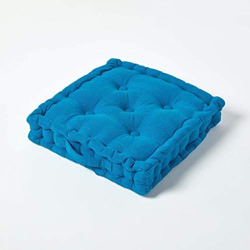 Homescapes Stuhlkissen Rajput Sitzkissen 40 x 40 cm in RIPP-Optik Stuhlauflage Petrol aus 100prozent Reiner Baumwolle mit Polyesterfüllung