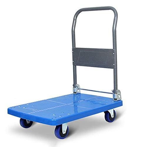 Ljf - Carrello portautocarro pieghevole silenzioso per la casa e il magazzino, per la movimentazione di albergo bagagli con portata di 200 ~ 350 kg per la casa, metallo, Blu, 90*60*89CM