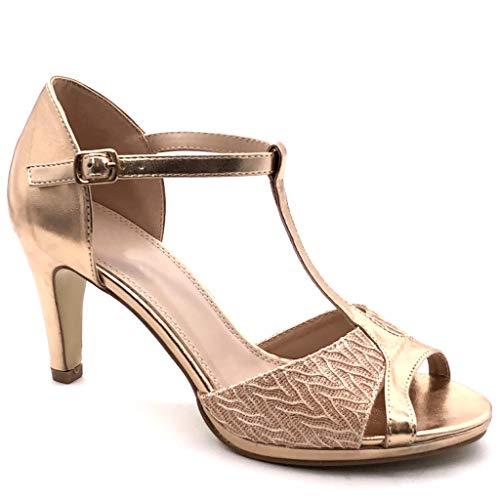 Angkorly - Chaussure Mode Escarpin Sandale salomés Stiletto Peep-Toe Femme Brillant Dentelle Talon Haut Aiguille 8.5 CM - Champagne - W60 T 39