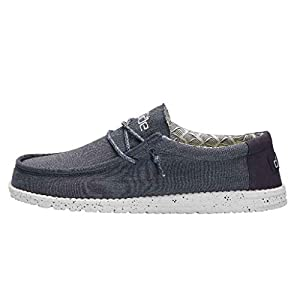 Hey Dude Men's Wally Chambray Mirage Blue Size 11 | Men's Shoes | Men's Lace Up Loafers | Comfortable & Light-Weight