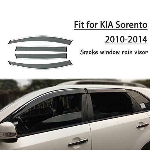 HCDSWSN Windabweiser,4 stücke Auto Styling Rauch Fenster Sonne Regen Visier Deflector Guard, Für Kia Sorento 2010 2011 2012 2013 2014 Zubehör