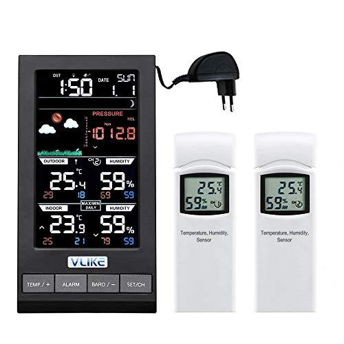 VLIKE Estación meteorológica con 2PCS sensores Estación meteorológica al Aire Libre Radio Control Reloj Círculo Pantalla Temperatura y Humedad