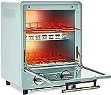 Mini horno eléctrico, horno de tostadora retro inteligente, mini horno multifuncional para el hogar pequeño horno de doble capa 9L, con panadería y estante, azul