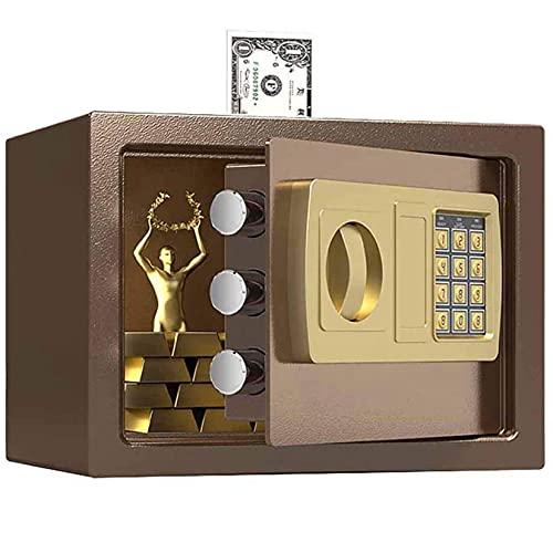 YJF-ZWS Caja Fuerte De Seguridad Digital para Archivos De Oficina, Doble Bloqueo De Llave De Seguridad Y Contraseña, Caja Fuerte De Bloqueo Interior Especial Propia,Marrón