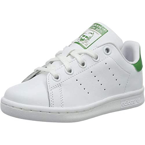 adidas Stan Smith, Sneaker Unisex-Child, Footwear White/Footwear White/Green, 28 EU