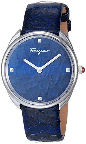 Ferragamo Reloj analógico de cuarzo de acero inoxidable con correa de piel, azul, 15.8 (modelo: 7630030550386)