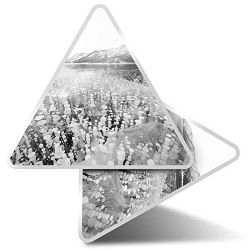 2 pegatinas triangulares de 7,5 cm – BW – Frozen Lake Metthane Gas Fun Calcomanías para ordenadores portátiles, tabletas, equipajes, reservas de chatarra, neveras #39093