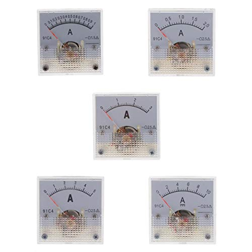 joyMerit 5 Packungen Amperemeter Current Panel Ampere Meter, DC 1A 2A 3A 5A 10A 2,5% Genauigkeit