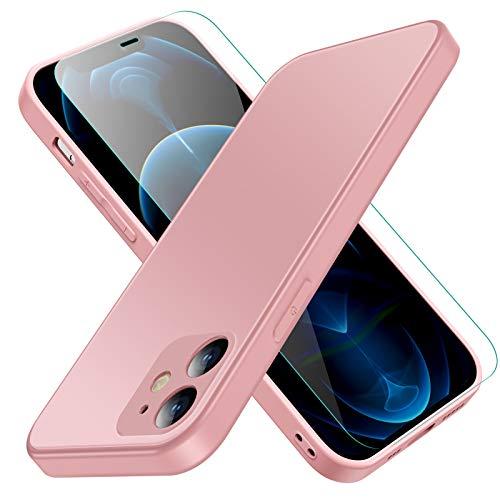 Jonwelsy Funda para iPhone 11, Lujo Suave Silicona Liquida Shockproof Proteccion Carcasa de Telefono + Mate Vidrio Templado Contraportada Case Cubierta para iPhone 11 (6,1 Pulgada) (Rosado)