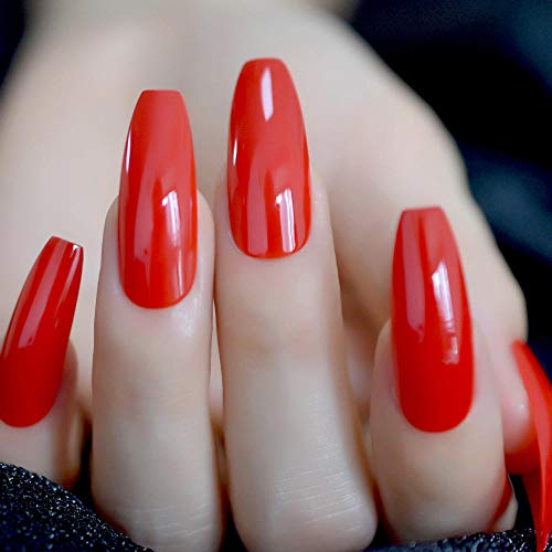CLOAAE Extra Long Coffin Ballerina Shape Fake Press On Red Nails Flame Summer On Fingerless Adhesive Tapes