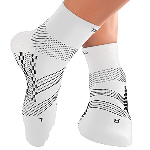 TechWare Pro Compression Socks - Ankle Support for Men & Women with Arch Supports for Plantar Fasciitis. Foot Pain Support for Injury Recovery. (White Med)