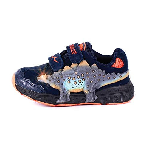 Dinosles 3D Stegosaurus LT Flashing LED Shoes for Kids Children Boys Girls, Lightweight & Breathable Casual Running Sneakers Walking Shoes with Eye Blinking Dinosaurs, Navy (1 Little Kid)