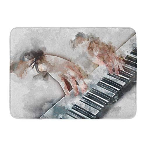 Alfombras de baño Alfombras de baño Alfombrilla para exteriores / interiores Resumen Hermosa mano Mujer tocando el teclado del piano Primer plano Pintura de acuarela y decoración digital de baño Alfom