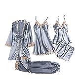 JSSJ Silk 5 Piece Pajama Set, Women Satin Pajama Sets Pyjamas Sexy Lace Sleepwear M H-Phnom Penh Gray