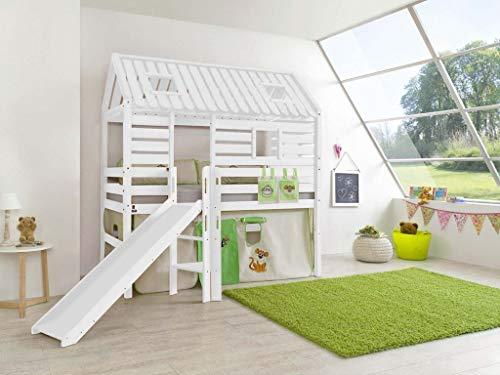 Froschkönig24 Hochbett Tom´s Hütte 1 Kinderbett mit Rutsche Spielbett Bett Weiß Dschungel, Matratze:mit