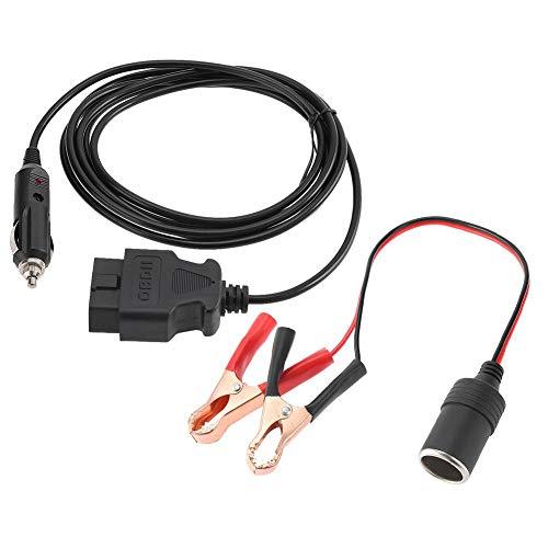 Cable de fuente de alimentación de emergencia, OBD II ECU del vehículo Cable de fuente de alimentación de emergencia 12V Protector de memoria con clip