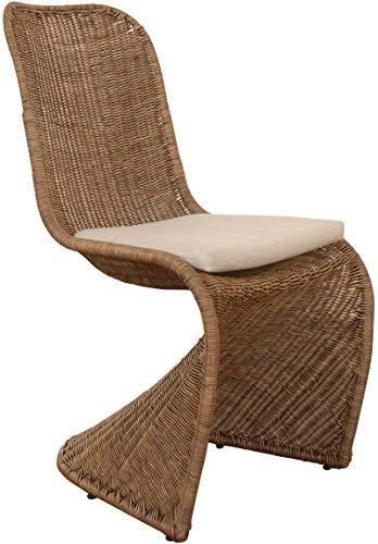 Schwingstuhl Esszimmer-Stuhl aus Rattan Freischwinger Korb mit Polster Esszimmer Stühle Schwinger Vintage Braun