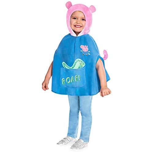 Disfraz de George Peppa Pig Disfraz para niños Poncho con Capucha (Edad: 2-3 años)