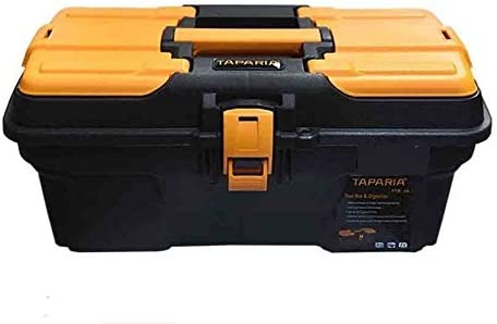 Taparia PTB16 Compact Plastic Tool Box with Organizer (Orange and Black)