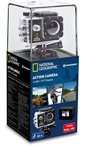 National Geographic Full-HD Action Camera 12 MP met 140 ° groothoeklens, 1920 x 1080 Px videoresolutie, USB 2.0, 1,5 inch TFT-beeldscherm, waterdichte behuizing en veel montageaccessoires