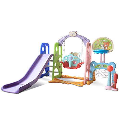 Toddler Swing and Slide Set w/ Basketball Hoop Stand & Music Player Children Fun Climber Slider Set...