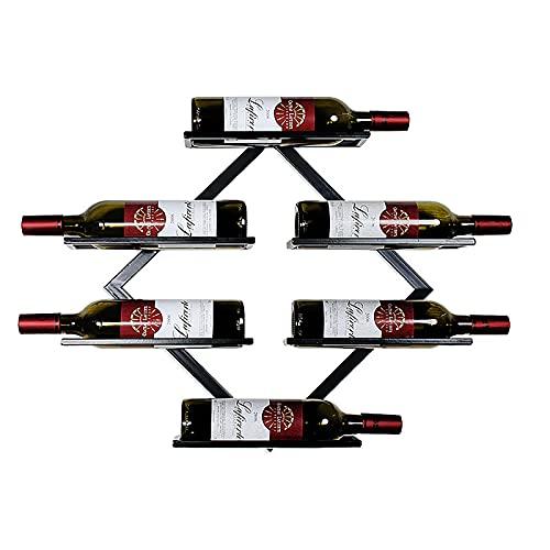 Väggmonterad 6 flaska Vinställ Vinflaskhållare Display Hylla Slutlagring Arrangör för Hem & Köksinredning (60cm),Black