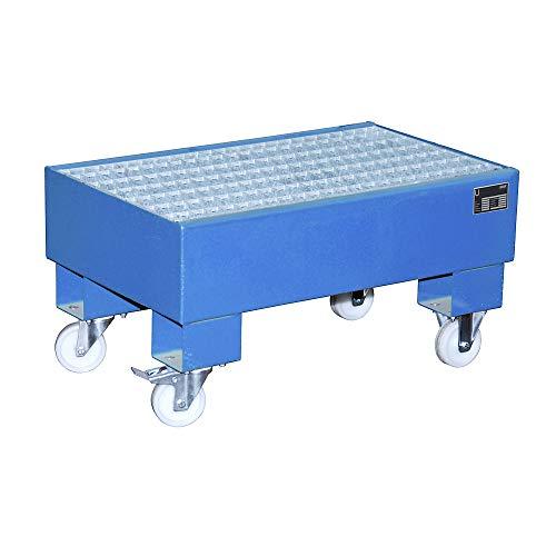 Bauer Kleingebinde-Auffangwanne, BxLxH 500x800x290 mm, Auff.vol. 61 l, mit Gitterrost, 2x60L-Fass, lackier t RAL 5012 lichtblau