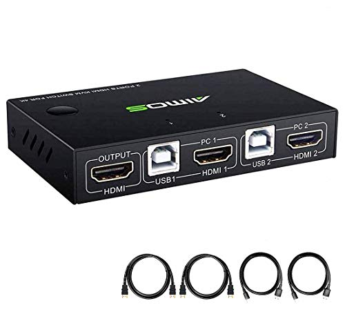 KVM Switch HDMI 2 Port Box, 2 Computers Share one Set Wired or Wireless Keyboard & Mouse and one Monitor, Support UHD 4K@30Hz, Compatible Laptop/PC/PS4/Xbox/HDTV, with HDMI and USB Cables